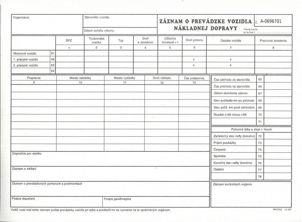 Záznam o prevádzke nákladného vozidla - STASKA (A4 blok)-číslovaný