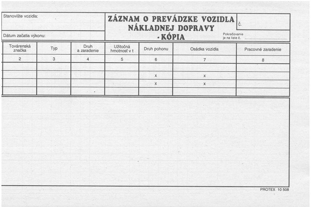 Záznam o prevádzke nákladného vozidla - Staska kópia (blok 2/3 A4, 100 listov)