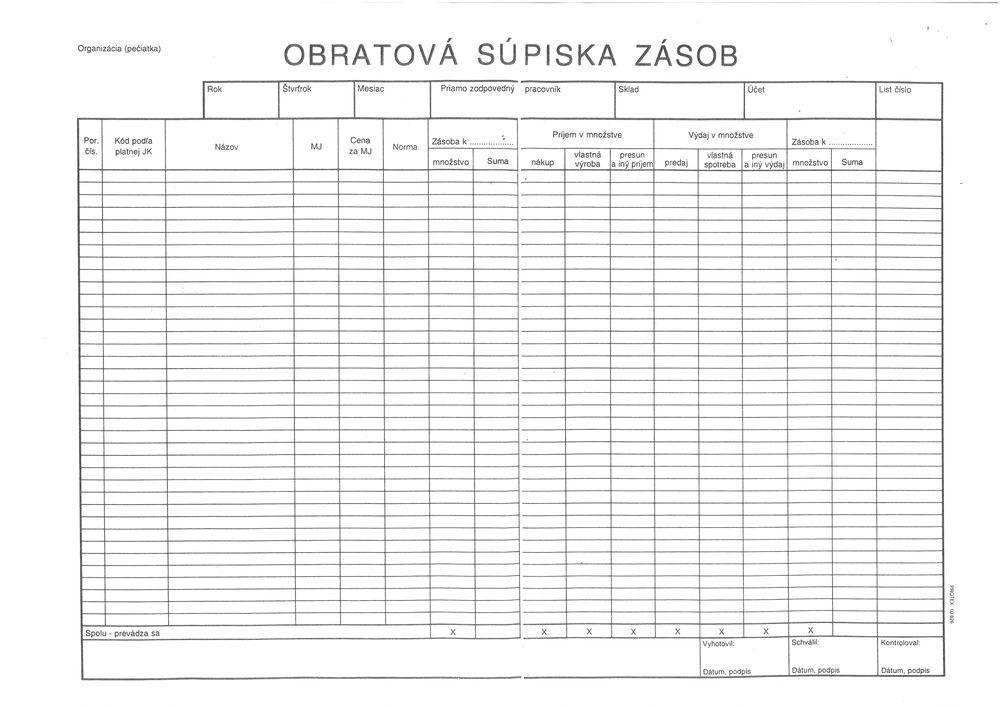 Obratová súpiska zásob (list A3)