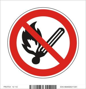 Piktogram zákaz fajčenia a používania otvoreného ohňa - samolepka (10x10 cm)