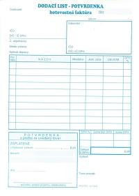 Dodací list - potvrdenka - hotovostná faktúra A5 (samoprepisovací, blok 100 listov)