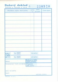 Daňový doklad - paragón A6 (blok čísl. 50x2 listov)