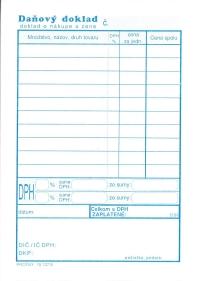 Daňový doklad - paragón A6 (samoprepisovací, blok 100 listov)