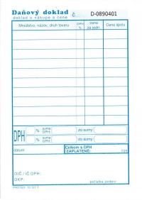 Daňový doklad - paragón A6 (samoprepis., čísl.blok 50x2 listov)