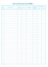Inventárny list DIM (karta A4)