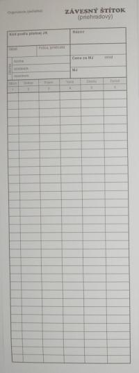 Skladová karta - štítok DLHÝ (10x30 cm)