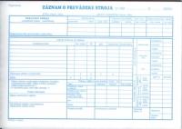 Záznam o prevádzke stroja samoprepisovací (blok A5, 100 listov)