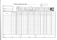 Výkaz práce za dni (samoprepisovací blok A4, 100 listov)