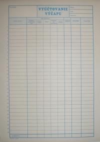 Vyúčtovanie výčapu (blok A4, 100 listov)