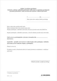 Doklad o psychickej spôsobilosti vodiča - list A4