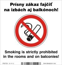 Piktogram zákaz fajčenia pre hotely s dvojjazyčným textom - samolepka 10x10 cm
