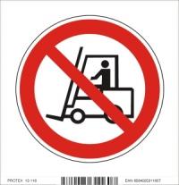 Piktogram priemyselným vozidlám vjazd zakázaný - samolepka (10x10 cm)