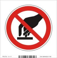 Piktogram zákaz dotýkať sa - samolepka (10x10 cm)