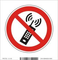 Piktogram zákaz používania mobilných telefónov - samolepka (10x10 cm)