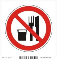 Piktogram zákaz jedenia a pitia - samolepka (10x10 cm)