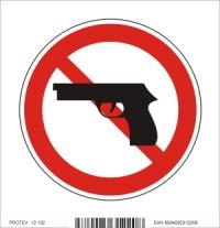 Piktogram zákaz vstupu so zbraňou - samolepka (10x10 cm)