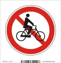 Piktogram zákaz vjazdu s bicyklom - samolepka (10x10 cm)