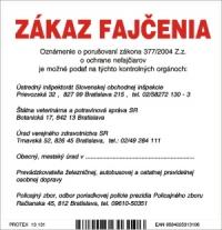 Označenie s textom Zákaz fajčenia a zoznamom kontrolných orgánov (10 x 10 cm)