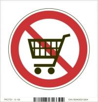 Piktogram zákaz vstupu s nákupným vozíkom - samolepka (10x10 cm)