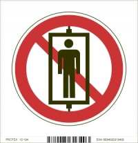 Piktogram zákaz prepravy osôb (vo výťahu) - (10 x 10 cm)