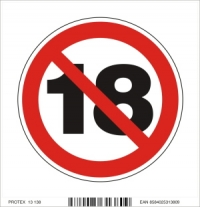Piktogram zákaz 18 - samolepka (10x10 cm)