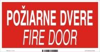 Označenie s textom Požiarne dvere - Fire door (20 x 10 cm)