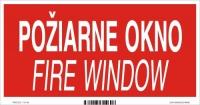 Označenie s textom Požiarne okno - Fire window (20 x 10 cm)