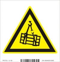 Piktogram  nebezpečenstvo pádu alebo pohybu zaveseného bremena - samolepka (10x10 cm)