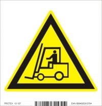 Piktogram  nebezpečenstvo pohybujúcich sa priemyselných vozidiel - samolepka (10x10 cm)