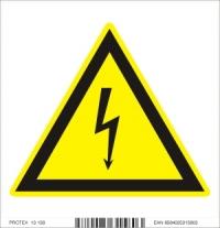 Piktogram  nebezpečenstvo úrazu elektrickým prúdom - samolepka (10x10 cm)