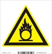 Piktogram  nebezpečenstvo látky podporujúcej horenie - samolepka (10x10 cm)