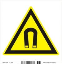 Piktogram  nebezpečenstvo silného magnetického poľa - samolepka (10x10 cm)