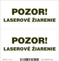 Označenie s nápisom POZOR laserové žiarenie - samolepka (2 kusy 10x5 cm)