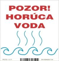 Označenie s nápisom POZOR horúca voda - samolepka (10x10 cm)