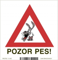"Piktogram - s nápisom ""Pozor pes"" (10 x 10 cm)"