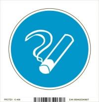 Piktogram fajčenie povolené - v modrom kruhu (10 x 10 cm)