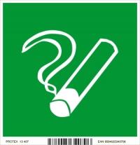 Piktogram fajčenie povolené - v  zelenom štvorci (10 x 10 cm)