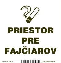 """Označenie s textom """"Priestor pre fajčiarov"""" (10 x 10 cm)"""