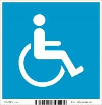 Piktogram vozíčkar v modrom štvorci (10 x 10 cm)