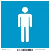 "Piktogram ""WC muži"" - v modrom štvorci (10 x 10 cm)"
