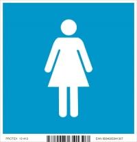 """Piktogram """"WC ženy"""" - v modrom štvorci (10 x 10 cm)"""
