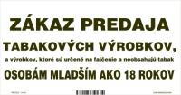 """Označenie """"Zákaz predaja tabakových výrobkov..."""" (20x10 cm)"""