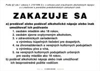 Oznam o zákaze predaja alkoholických nápojov (A4, laminovaný, nesamolepiaci)