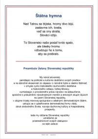 Text Slovenskej štátnej hymny a preambuly Ústavy (A4, laminovaný)