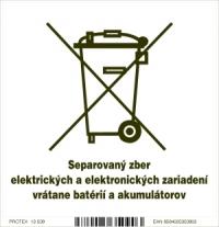 Piktogram separovaný zber elektrických zariadení (10 x 10 cm)