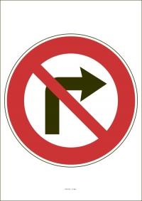 """Označenie """"Zákaz odbočovania vpravo"""" (A4, laminované)"""