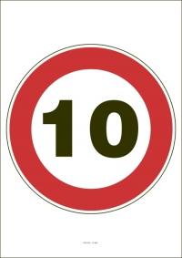 """Označenie """"Najvyššia dovolená rýchlosť 10 km/h"""" (A4, laminované)"""