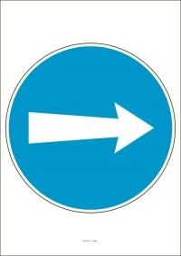"""Označenie """"Prikázaný smer jazdy vpravo / vľavo"""" (A4, laminované)"""
