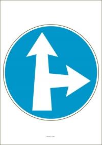 """Označenie """"Prikázaný smer jazdy priamo a vpravo"""" (A4, laminované)"""