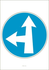 """Označenie """"Prikázaný smer jazdy priamo a vľavo"""" (A4, laminované)"""